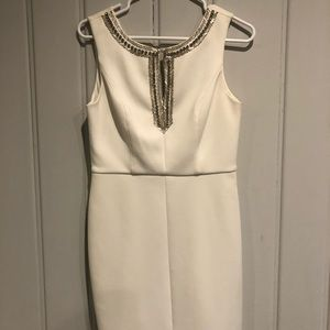 Vince Camuto Beaded White Cloud Sheath Dress sz 4